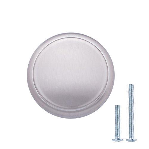AmazonBasics - Pomo de armario, con diseño de aro superior, moderno, 2,95 cm de diámetro, níquel satinado - paquete de 25