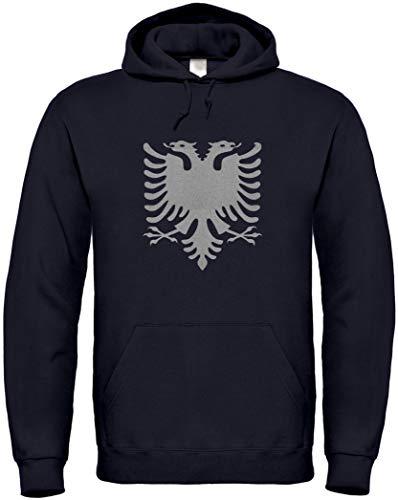 Hoodie Albanien Doppel-Adler Silber-Metallic Edition S bis 5XL (M, Schwarz)