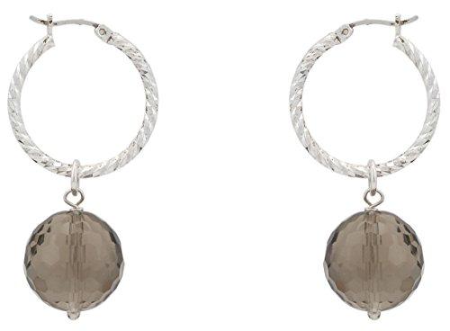 Alexandra plata - Pendientes aro de plata de ley 0925 diamantada con cuarzos ahumados facetados, diámetro 2,5 cms, color marrón