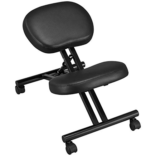 YAHEETECH Adjustable Work Desk Stool Ergonomic Home Office Kneeling Chair for Standing Desk with Thick Cushion Pad & Flexible Seating Rolling Casters