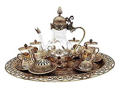 Traditional Ottoman Style Turkish Tea Set for 6 including Large Tray and Teapot Zinc Alloy and Glass (Antique Gold)