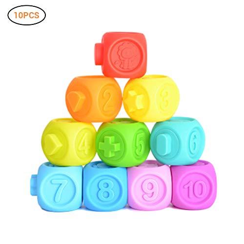 Bausteine, Bertom store 3D Weiche Bunte Präge Puzzle Squeeze Bausteine Frühe Pädagogische Baby Badespielzeug