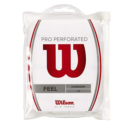 Wilson Pro Overgrip Perforated 12 Pack - White - Tennis - Badminton - Squash