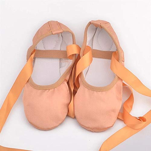 Gather together 5.5 Camel Satin Ballet Shoes with Ribbon Straps Round Toe Indoor Yoga Shoes Adult Girls Soft Split Sole Satin Dance Ballerina Shoes