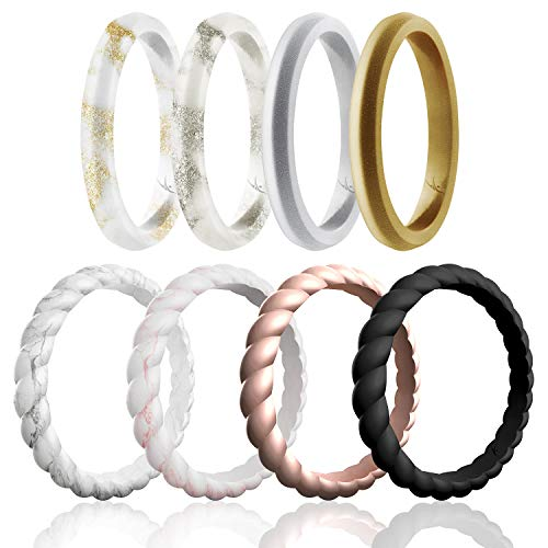 ROQ Silicone Wedding Ring for Women, Affordable Braided Point Stackable Silicone Rubber Wedding Bands - Medical Grade Silicone - Marble, Rose Gold, Black, Silver, Bronze Colors - Size 11