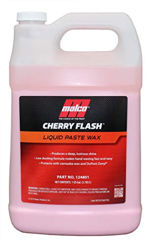 Malco Cherry Flash Automotive Liquid Paste Wax – Protect & Shine Your Vehicle/Easiest Way to Hand Wax Your Car/Lasting Gloss & Protection for Cars, Trucks, Boats and Motorcycles / 1 Gal. (124801)