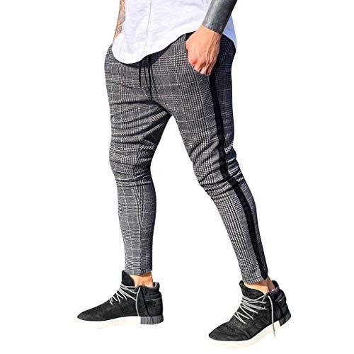 Oliviavan,Pantalones Largos para Hombre Moda Pantalones Slim Fit A Cuadros Pantalones Deportivos de Bolsillo Pantalón para Hombre Casual