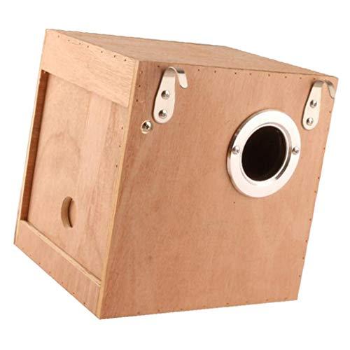 F Fityle Holz Vogelnest Einlochmontage Tür Vogelhaus Papageien Schwalben Nester Box für Outdoor Rasen Garten Heimtextilien - L