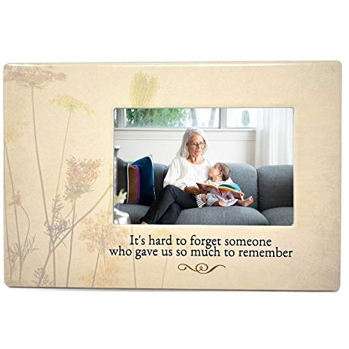 Memorial Picture Frame - It's Hard to Forget Someone Who Gave Us So Much to Remember - Tribute to The Loss of a Loved One - Ceramic Keepsake Plaque - Bereavement Gift - Sympathy - in Loving Memory