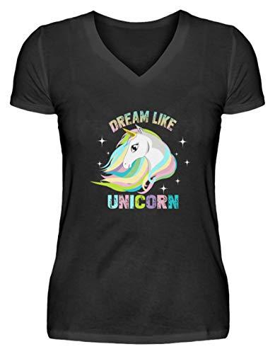 Dream Like Unicorn - Camiseta de Manga Corta para Mujer (Cuello de Pico) Negro M