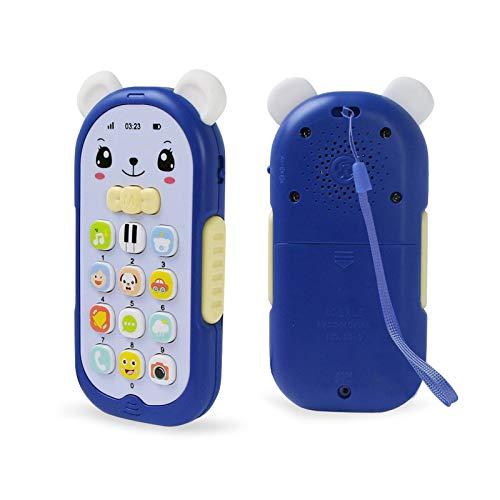 Shhjjyp Juguetes Teléfono Bilingüe Mando A Distancia Conejo, Juguete Electrónico Bebé,Teléfono Infantil con Luces, Sonidos Y Canciones En Inglés (Azul),B
