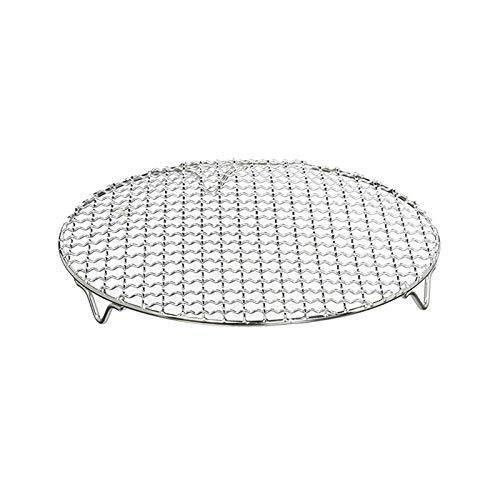 Rejilla de refrigeración y asado multifunción, de acero inoxidable, con alambre cruzado, redondo, bandeja de enfriamiento al vapor, con patas, resistente al óxido, rejilla para hornear, 18cm