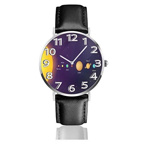 Reloj de Pulsera Patrón de Planetas solares Durable PU Correa de Cuero Relojes de Negocios de Cuarzo Reloj de Pulsera Informal Unisex