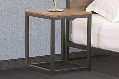 Home Treats Wooden Side Table. Wooden Bedside Table With Strong Black Metal Frame. Side Table for Living Room and Bedroom
