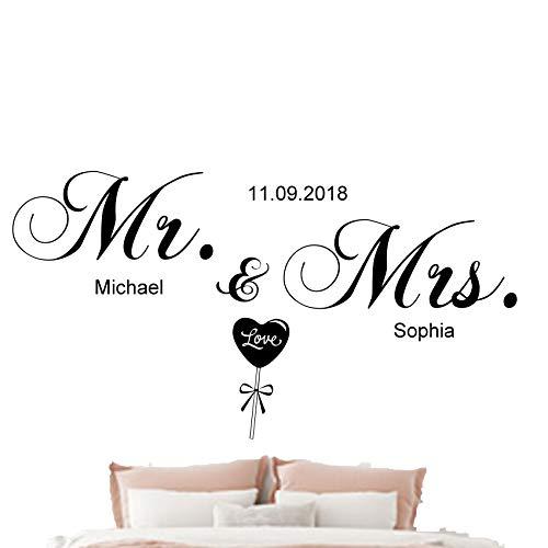 Wandschnörkel® Wandtattoo Schlafzimmer Mr.&Mrs.mit Namen Datum personalisiert (120cmx55cm, schwarz)