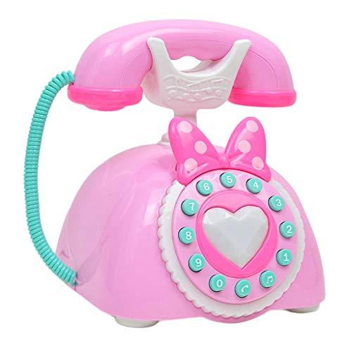 Injoyo Juguete de Teléfono Electrónico Antiguo Vintage con Voces de Idioma Extranjero Juego para Desarrollo de Inteligencia de Niños - Rosado