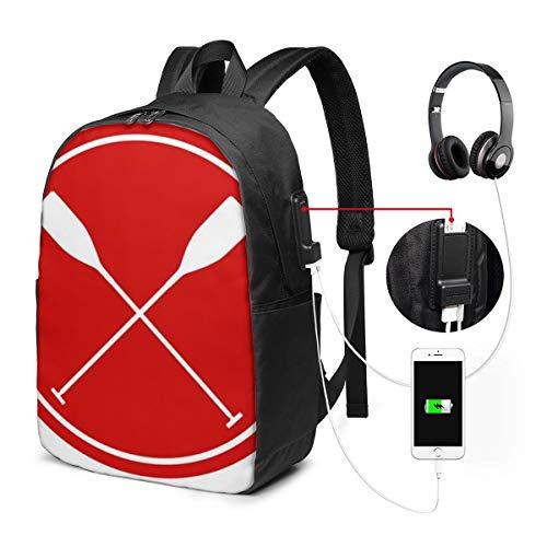Laptop Rucksack Business Rucksack Für 17 Zoll Laptop, Machst du Sport? Real Oars Schulrucksack Mit USB Port für Arbeit Wandern Reisen Camping, für Herren Damen
