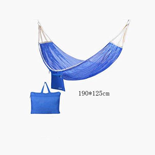 Hamac Outdoor hamac camping camping balançoire hamac hammock d'alpinisme maille bleue hamac en polyester hamac portable (sac de rangement * 1), (190 * 125cm)