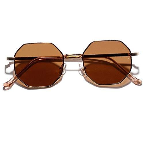 Gafas duraderas Gafas de sol retro polígono mujeres de los hombres de lujo rosado del marco de la lente Gafas de sol redondas de época pequeñas gafas de sol de espejo de color Gafas de controladores