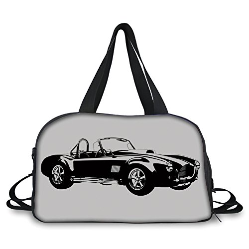iPrint Travelling Bag,Cars,Silhouette Classic Sport Car Ac Cobra Roadster American Antique Engine Autosport,Black White ,Personalized