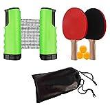 ISUNEED - Juego de tenis de mesa portátil con red retráctil (abrazaderas de soporte), 3 pelotas y 2 palas de ping-pong, perfecto para el hogar interior o al aire libre, verde