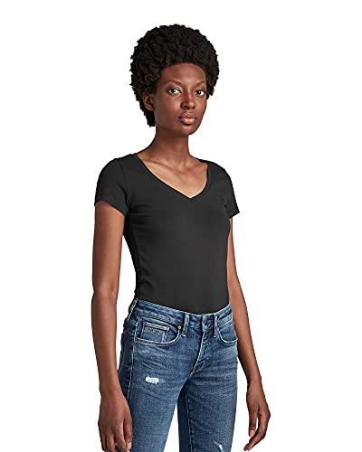 G-STAR RAW Base V-Neck Cap Sleeve T-Shirt, Schwarz (Black 3310-990), XXL para Mujer