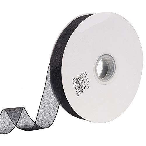 Molshine 100yd 1-inch Premium Quality Shimmer Sheer Organza Ribbon 100% Nylon (Black)