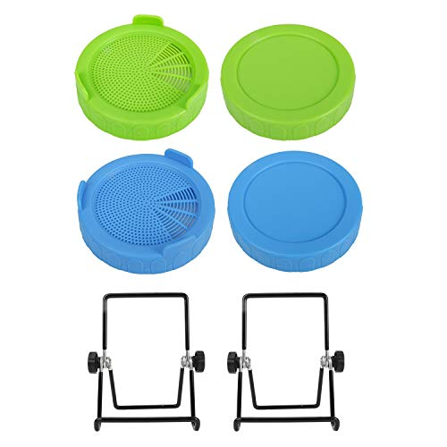 Screen Plastic Sprouting Lids +Wide Mouth Jar Lids +Stainless Steel Sprouting Stands Germination Kit, Sprouting Jar Strainer Lids for 86mm Canning Mason Jars- Broccoli,Alfalfa,Salad,Seed-6 Pack