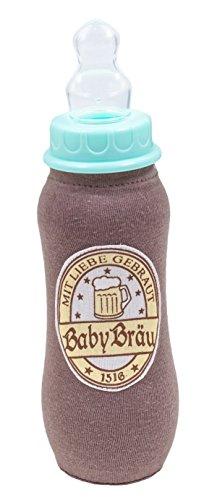 Babybräu Deutsche Babyflasche Trinkflasche Bierflasche Fläschchen Baby Flasche Braun Stoffbezug 15 x 7 cm 240 ml Fassungsvermögen Ringelsuse