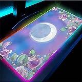 Alfombrillas de ratón Sailor Moon Alfombrilla de ratón para Juegos Paisaje Ordenador portátil Gran Teclado RGB Alfombrilla Gamer Alfombrilla de Escritorio para PC con retroiluminación-50x100x0.4cm