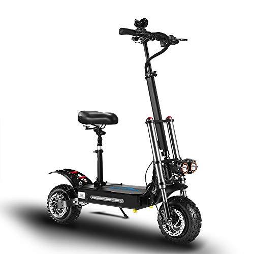 GUNAI Scooter eléctrico Todoterreno 5400W Neumático de 11 Pulgadas Motor Dual Velocidad máxima 85 km/h 60V32Ah Batería Doble suspensión Scooter portátil Plegable con Asiento