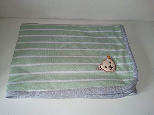 Steiff Jerseydecke Babydecke newborn in Pastellgrün 90 x 60 cm
