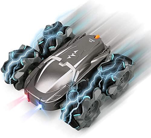 Ferngesteuertes Auto, FLYNOVA RC Stunt Car schnelles Offroad-Fahrzeug 2,4 Ghz 4WD Doppelseitige Drehfunktion mit 360° Drehung, Blitzleuchte 40 Min Fahrvergnügen, für Jungen & Mädchen & Erwachsene