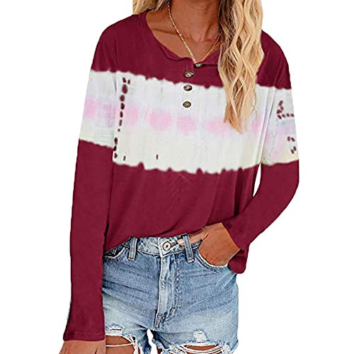 LAIYUTING Printing, Buttons, Tie-Dye, Stitching,Tie-Dye Printed Button Long-Sleeved T-Shirt Women Red Wine