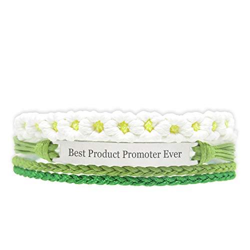 Miiras Trabajo Pulsera Hecha a Mano para Mujer - Best Product Promoter Ever - Wit Groen FL-GR - Hecho de Cuerda Trenzada y Acero Inoxidable - Gift for Product Promoter