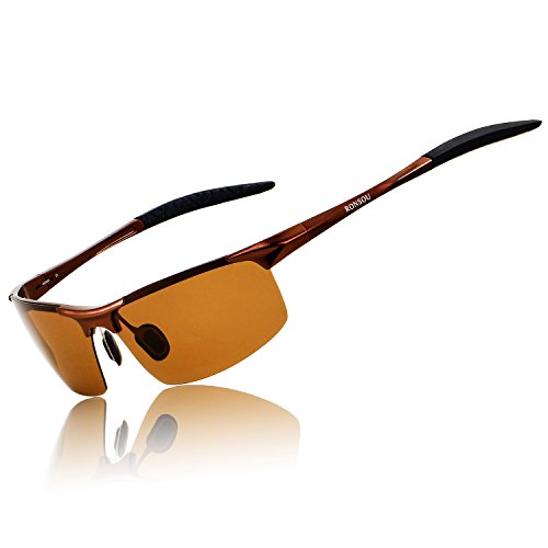 Ronsou Men Sport Al-Mg Polarized Sunglasses Unbreakable for Driving Cycling Fishing Golf coffee...