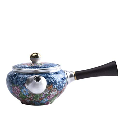 YUNLILI Ceramic Teapot Enamel Sterling Silver Ceramic Teapot Side Handle Pot for Bulk Tea and Tea Bags for Home and Tea Party Chinese style (Color : Blue, Size : 250ml)