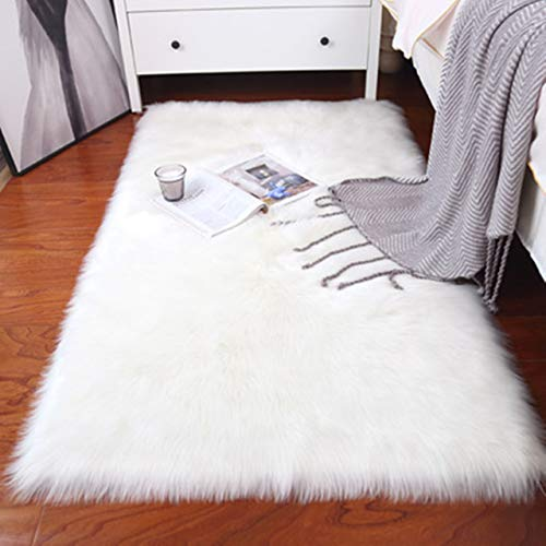 Hochflor Teppich Wohnzimmer, Zimmer Deko Teppich Kinderzimmer Schlafzimme, Kunstfell Shaggy Flauschig Teppiche Weiß 80×150 cm