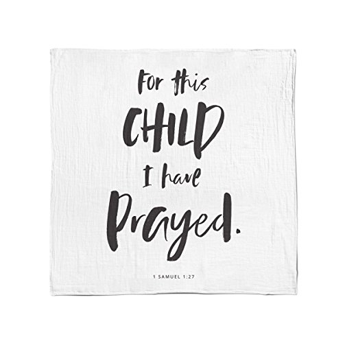 "Bamboo Cotton Muslin Swaddle Blanket by Baby Octopi - 1 Samuel 1:27 - for This Child I Have Prayed - Verse Scripture - Breathable - Machine Washable (47""x47"")"