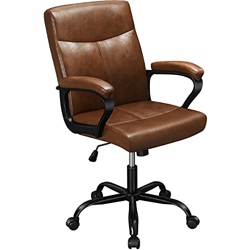 DICTAC Leder Bürostuhl ergonomisch testsieger Schreibtischstuhl Braun Arbeitsstuhl mit Armlehnen, Höhenverstellbar Vintage Drehstuhl mittlerer Rückenlehne für Home Office