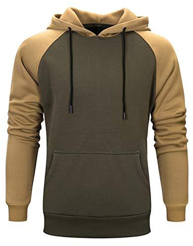 VSUSN Pullover mit Kapuze Fleece Hoodie Langarm Kapuzenpullover Sweatshirt mit Känguru Taschen Sweater Sweatjacke Hoody Kapuzenjacke für Herren und Damen(Grün&Khaki,2XL)