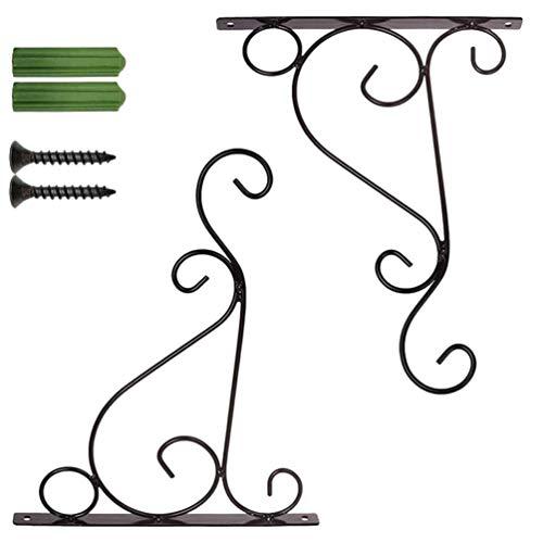 Hemoton Haken für Blumenampel,Hängende Korbhalterungen 4 Par Schwere Wandbehanghalterungen Eiserne Wandbehangkorbständerhaken für Gartenkorb (Größe S)