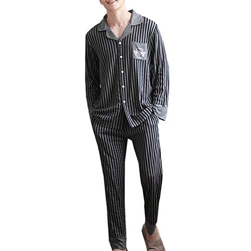 LZJDS Conjunto de pijama de manga larga a rayas para hombre con botones ligeros y pantalones y pantalones de manga larga para dormir estilo clásico para otoño e invierno gris L-3XL, gris medio, XXL