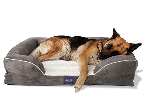 Laifug Large Dog Bed,Orthopedic Memory Foam Dog Couch with Free Waterproof Liner and Removable Washable Cover,Durable Pet Sofa for Dogs and Cats