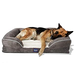 Laifug Large Dog Bed,Orthopedic Memory Foam Dog Couch with Free Waterproof Liner and Removable Washable Cover & Free Dog Comb,Durable Pet Sofa for Dogs and Cats