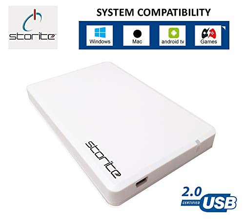 Storite External Hard Drive 2,5' 2.0 USB Slim and Light weight Portable Hardrive for Computer, Laptop, PC, Games, Mac, Chromebook- for Storage and Back Up (100GB, WHITE)