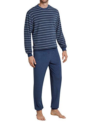 Seidensticker Herren Frottee Anzug Lang Zweiteiliger Schlafanzug, Blau (Dunkelblau 803), Large (Herstellergröße: 102)