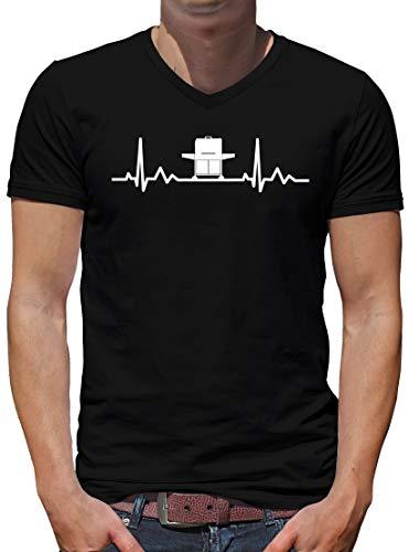 TShirt-People Herzschlag Gasgrill V-Kragen T-Shirt Herren BBQ Grillen Fun Master 5XL Schwarz