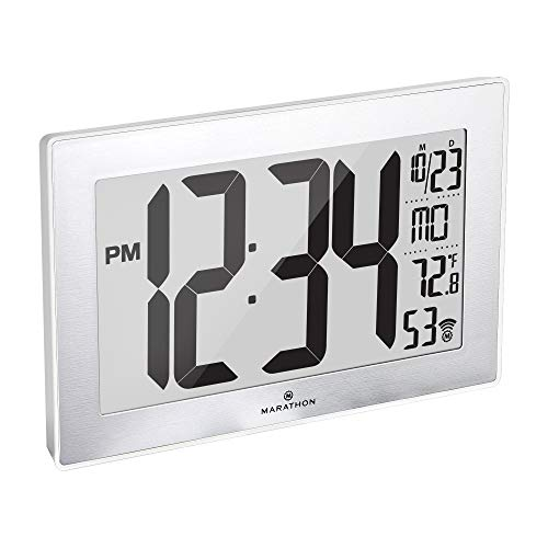 Marathon CL030068 Slim Panoramic Atomic Wall Clock with Table Stand (White/Stainless Steel)