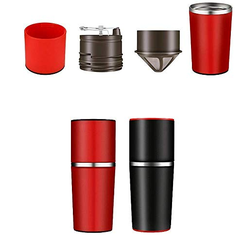UnderReef All In One Manual Hand Coffee Grinder, Portable Adjustable Grinder, Coffee Equipment Can Travel with You Anywhere Now (Red)